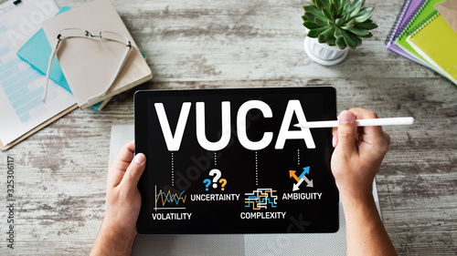 Photo VUCA world concept on screen