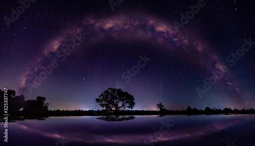 Photo Amazing Panorama blue night sky milky way and star on dark background