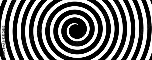 black and white circular hypnotic background