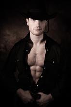 Portrait Of Handsome Cowboy Lo...