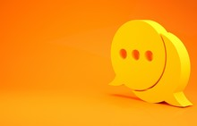 Yellow Speech Bubble Chat Icon Isolated On Orange Background. Message Icon. Communication Or Comment Chat Symbol. Minimalism Concept. 3d Illustration 3D Render