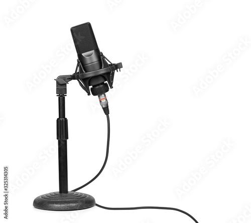 Fotografia professional microphone on a desktop stand