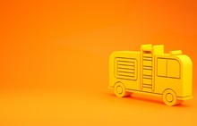 Yellow Fire Truck Icon Isolate...