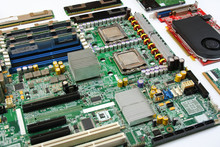 Computer Motherboard With Processor, Ram Memory, Graphics Card