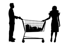 Vector Silhouette Of Couple Sh...