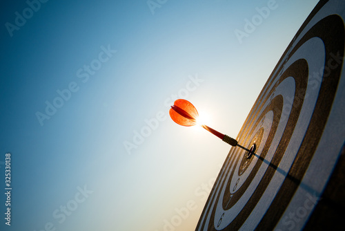 Close up shot red darts arrows in the target center on dark blue sky background Canvas Print