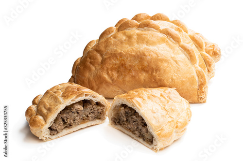 Homemade flaky pasty with mince meat filling isolated on white Wallpaper Mural
