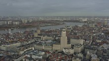 Antwerp Belgium Aerial V2 Flying Over Downtown And Meir Area With Cityscape And Sint-Andries Views - November 2019