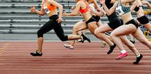 Group Of Women Sprinters Run R...