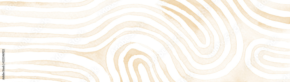 Fototapeta Beige abstract stripes watercolor horizontal background. Inspired by tribal body paint. Raster banner template.