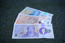 New Polymer Pound Sterling Banknotes. Selective Focus.