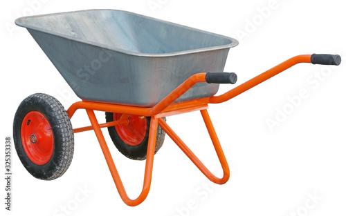 Stampa su Tela Garden wheelbarrow cart isolated on white