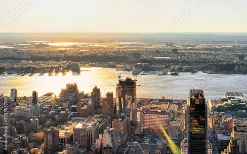 Fototapeta Aerial view to Manhattan West NY and NJ America obraz