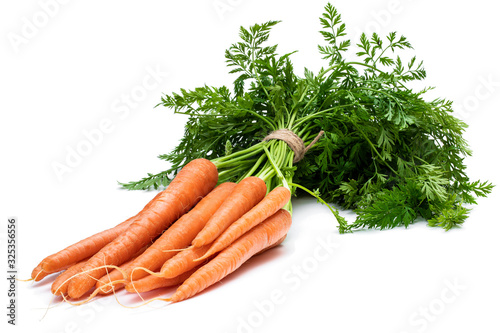 Fototapeta Bunch of new carrots isolated on white