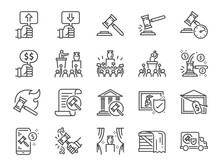 Auction Line Icon Set. Include...