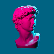 Statue Neon. On A Blue Isolate...
