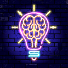 Neon Signboard Brain Light Bulb Idea