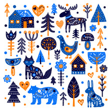 Set Of Doodle Animals, Trees, ...