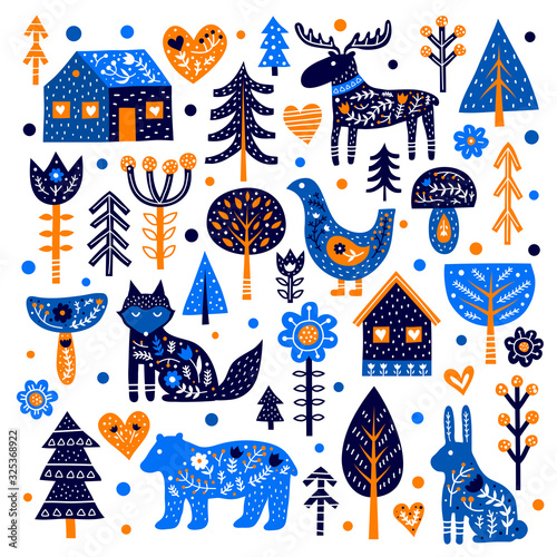 Set of doodle animals, trees, houses, flowers, mushrooms and Nordic ornaments in Scandinavian folk art style isolated on white background Wallpaper Mural