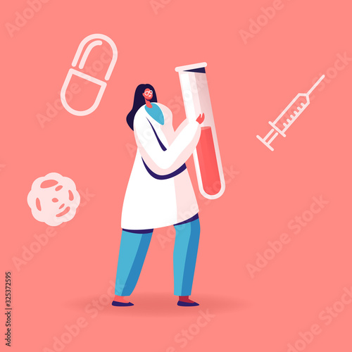 Obraz Blood Test on Hepatitis. Female Nurse or Doctor Character Carrying Huge Test Tube with Lifeblood. Medical Healthcare, Charity or Transfusion in Donation Laboratory. Cartoon Flat Vector Illustration - fototapety do salonu