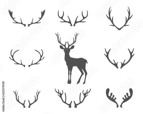 Black silhouettes of different deer horns, vector Fototapeta