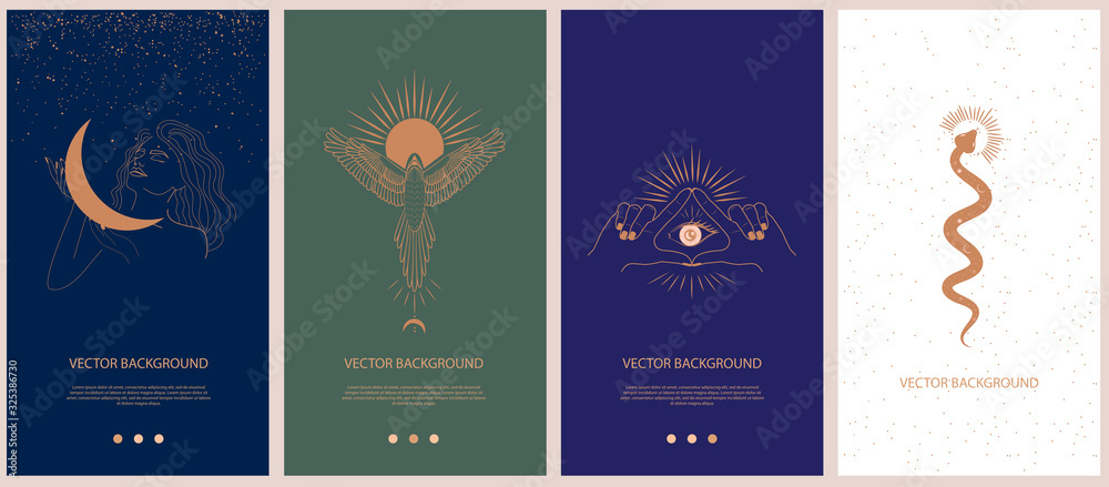 Fototapeta Set of mythology and mystical illustrations for Mobile App, Landing page, Web design in hand drawn style. Mythical creature, esoteric and boho minimalistic objects one line style. Vector illustration