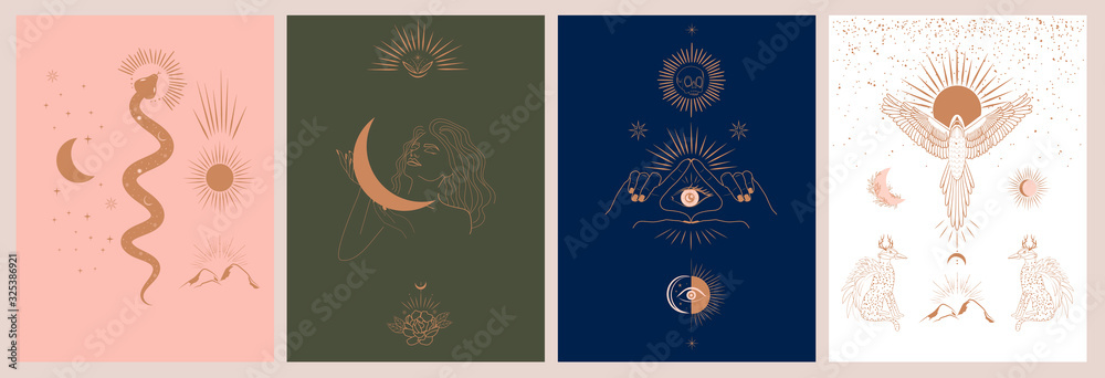 Fototapeta Collection of mythology and mystical illustrations in hand drawn style. fantasy animals, mythical creature, esoteric and boho objects, woman and moon, snake and evil eye. Vector Illustration