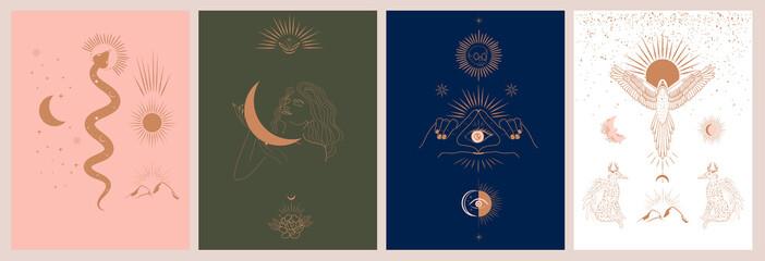 Zbirka mitologije i mističnih ilustracija u ručno nacrtanom stilu. fantazijske životinje, mitsko biće, ezoterični i boho predmeti, žena i mjesec, zmija i zlo oko. Vektorska ilustracija