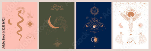 Fototapeta Collection of mythology and mystical illustrations in hand drawn style. fantasy animals, mythical creature, esoteric and boho objects, woman and moon, snake and evil eye. Vector Illustration obraz