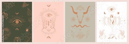 Obraz Collection of mythology and mystical illustrations in hand drawn style. fantasy animals, mythical creature, esoteric and boho objects, woman and moon, snake and evil eye. Vector Illustration - fototapety do salonu
