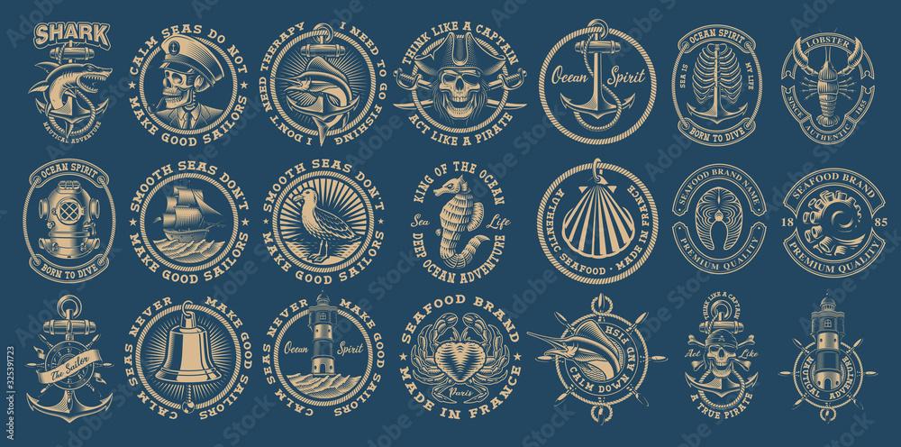 Fototapeta The biggest bundle of vintage nautical vectors on the dark background.