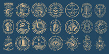 The Biggest Bundle Of Vintage Nautical Vectors On The Dark Background.