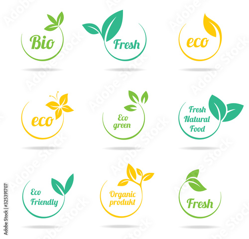 Photo Set of green labels and badges with leaves for organic, natural, bio and eco fri