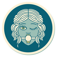 Tattoo Style Sticker Of Winking Female Face With Ball Gag