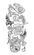Different Vegetables Canned In Glass Jar,recipe For Pickling Vegetables. Hand-drawn Vector Illustration