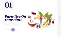 Traditional Thai Cuisine Website Landing Page. People Around Huge Dish Tom Yam Kung Soup With Shrimps, Rice In Bowl, Salad With Nuts And Cucumbers Web Page Banner. Cartoon Flat Vector Illustration