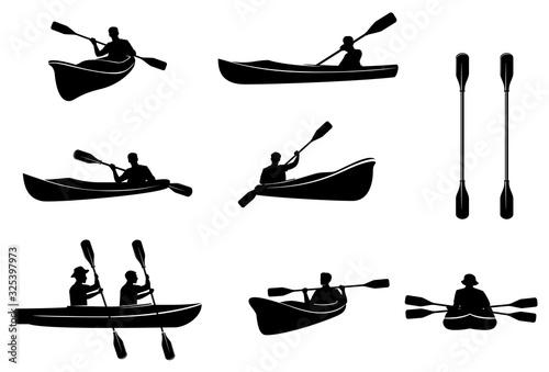 Fotomural Kayaking silhouettes vector
