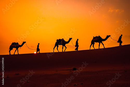 Cameleers, camel Drivers at sunset Fototapeta