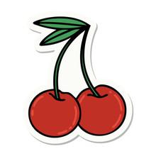 Tattoo Style Sticker Of Cherries