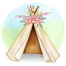 Watercolor Boho Spring Tribal Tent