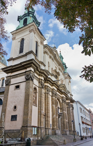 Church of St. Anne in Krakow, Poland. Catholic church of the 17th century in Baroque style. Sights of Europe