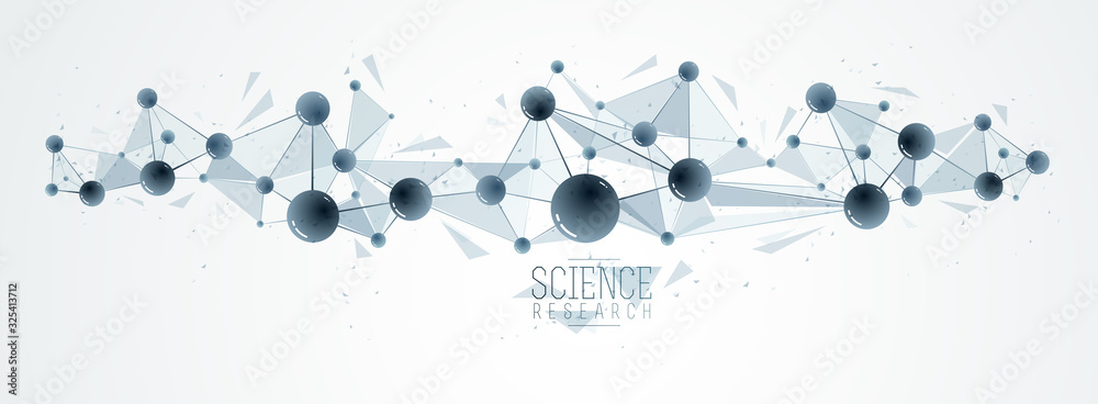 Fototapeta Vector molecules scientific chemistry and physics theme vector abstract background, micro and nano science and technology theme, atoms and microscopic particles.