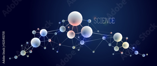 Vector molecules scientific chemistry and physics theme vector abstract background, micro and nano science and technology theme, atoms and microscopic particles Wallpaper Mural