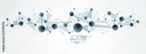 Photo Vector molecules scientific chemistry and physics theme vector abstract background, micro and nano science and technology theme, atoms and microscopic particles
