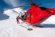 Red Rescue Helicopter Stands O...