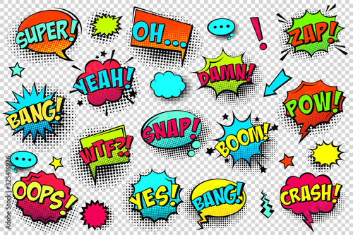 Fototapeta Comic colored speech bubbles with halftone shadow and text phrase. Sound expression of emotion. Hand drawn retro cartoon stickers. Pop art style. Vector illustration. obraz