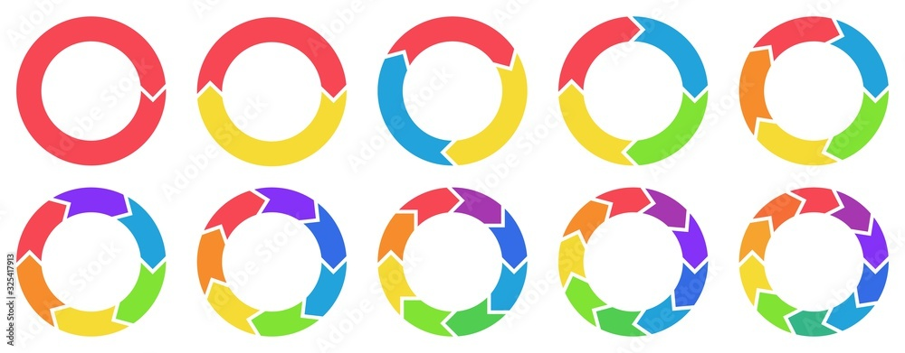 Fototapeta Colorful circle arrow charts. Multicolor spinning arrows, repeat circle combinations and reload icon vector set. Business strategy workflow process infographic elements, circular statistics diagrams