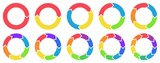 Colorful circle arrow charts. Multicolor spinning arrows, repeat circle combinations and reload icon vector set. Business strategy workflow process infographic elements, circular statistics diagrams