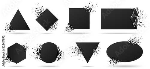 Exploded frame with spray particles. Explosion destruction, shattered geometric shapes and destruction energy vector banners set. Black objects with broken borders isolated abstract design elements - 325417992