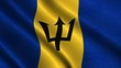 4K High Definition Barbados Flag waving in the wind.